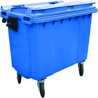 Charles Bentley - Poubelle à couvercle plat 660 litres - Bleu