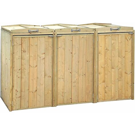 Charles Bentley Premium FSC Spruce Triple Bin Store Wheelie Bin Storage Unit