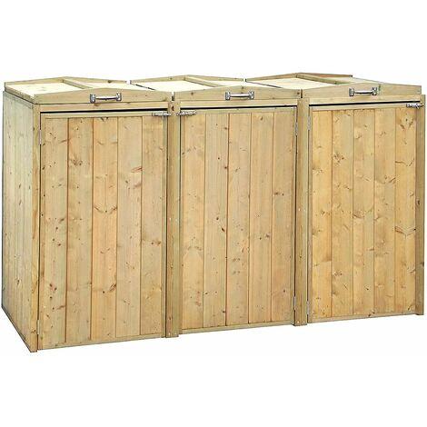 Charles Bentley Premium FSC Spruce Triple Bin Store Wheelie Bin Storage Unit - Brown