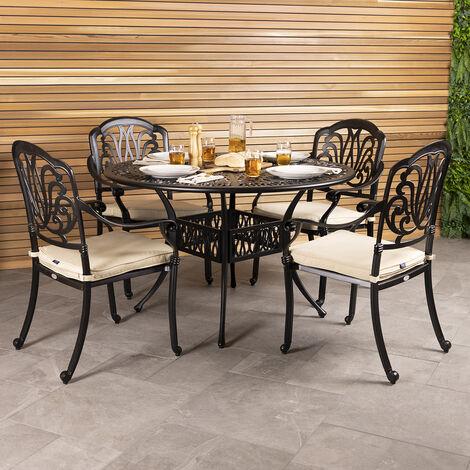 Charles Bentley Premium Furniture Cast Aluminium 4 Seater Outdoor Dining Set - Black