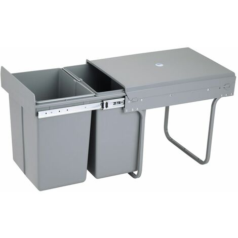 Charles Bentley Pull Out Kitchen Cupboard Bin 40L Capacity - Recycling with Lid - Grey