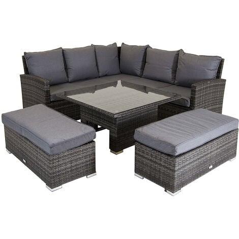 Charles Bentley Rattan corner lounge set with table - Grey - Grey