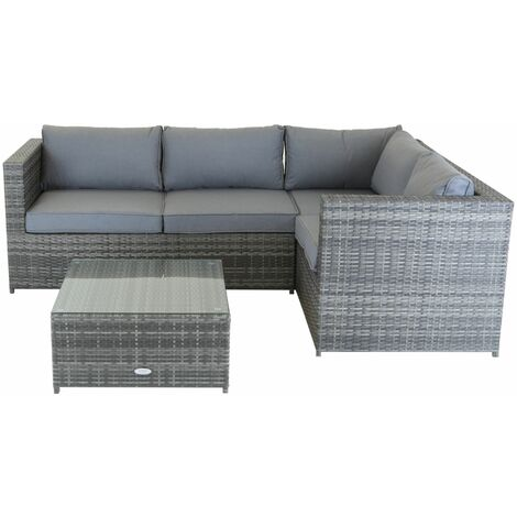 Charles Bentley Rattan Corner Sofa & Coffee Table - Grey