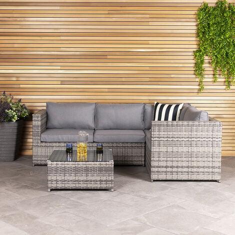 Charles Bentley Rattan Corner Sofa & Coffee Table - Grey - Grey
