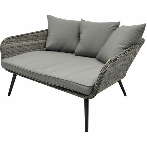 Charles Bentley Rattan Cuddle Chair - In Grey