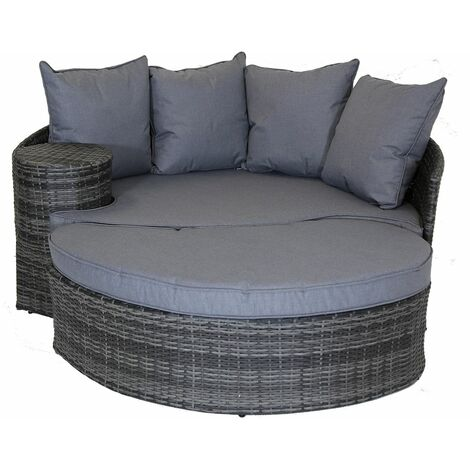 Charles Bentley Rattan Day Bed with Foot Stool & Table Grey - Gray