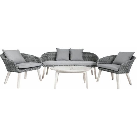 Charles Bentley Rattan & Hardwood Madrid Lounge Set 2 Chairs Sofa & Coffee Table - Grey