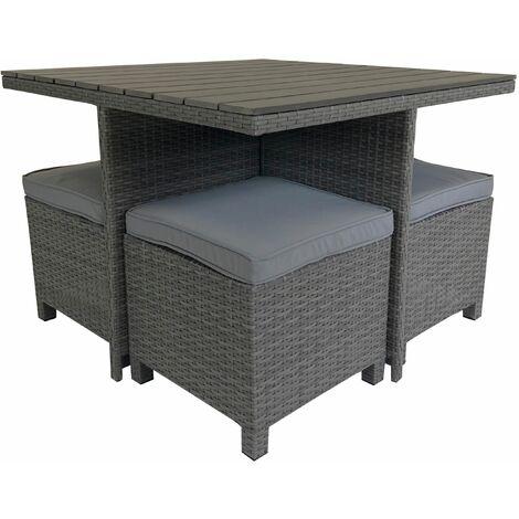 Charles Bentley Rattan & Polywood Cube Dining Set
