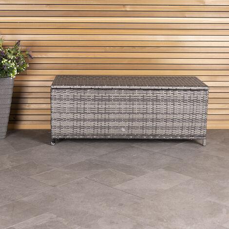 Charles Bentley Rattan Wicker Outdoor Patio Garden Storage Box - Grey / Natural