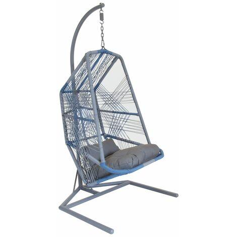 Charles Bentley Retro Garden Hanging Chair Swing - Wicker Rattan