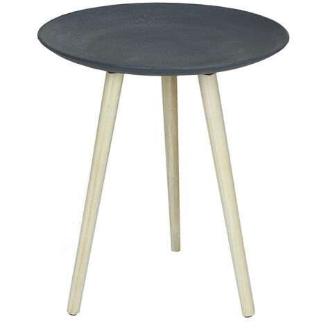 Charles Bentley Round Concrete Effect Side Table in Grey Coffee Sofa Bed Stand - Grey