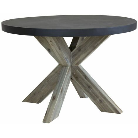 Charles Bentley Round Fibre Cement & Acacia Wood Dining Table - Grey