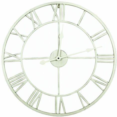 Charles Bentley Round Skeleton Clock with Roman Numerals Antique Cream 80cm