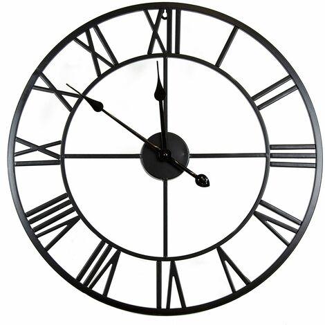 "main image of ""Charles Bentley Round Skeleton Clock with Roman Numerals Matte Black 100cm - Black"""