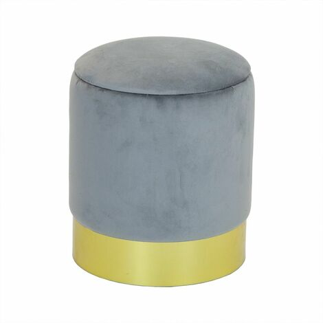 Charles Bentley Round Velvet Storage Pouffe/Ottoman with Gold Base Grey - Grey, Gold