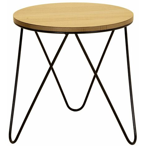 Charles Bentley Round Wood & Metal Hairpin Industrial Bed Side Table
