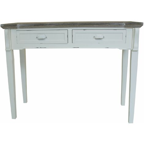 Charles Bentley Shabby Chic French Style 2 Drawer Console/Dressing/Hallway Table - White