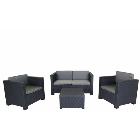 """main image of """"Charles Bentley Shaf Diva Comfort Lounge Set Includes Sofa, Armchairs & Table - Grey"""""""