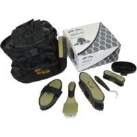 Charles Bentley Slip-Not Equestrian Deluxe Grooming Set Black & Gold/Mint & Navy