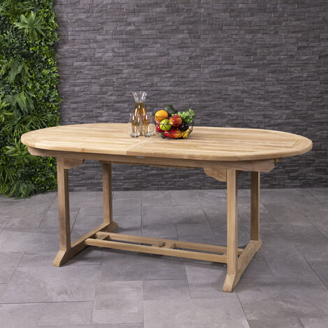 Charles Bentley Solid Wooden Teak Garden Patio Oval 6-8 Seater Extendable Table - Brown