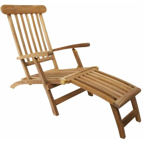 Charles Bentley Solid Wooden Teak Steamer Chair/Sun Lounger Garden Furniture - Natural