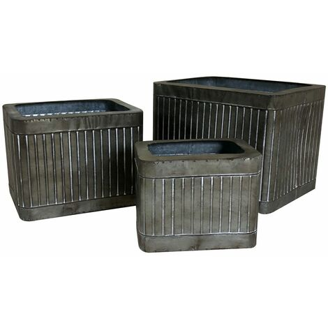 Charles Bentley Square Zinc Effect Planters Set Of Three