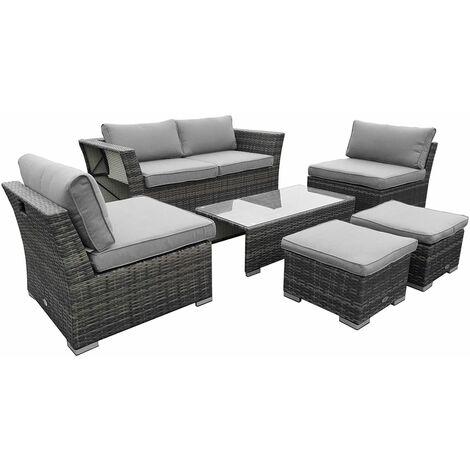 Charles Bentley St Tropez Rattan Lounge Set - Outdoor Space Saving Furniture - Gray
