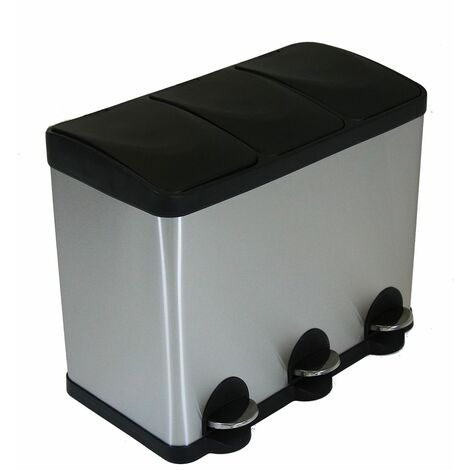 Charles Bentley Stainless Steel 45L Recycle Pedal Bin with 3 Compartments - Silver