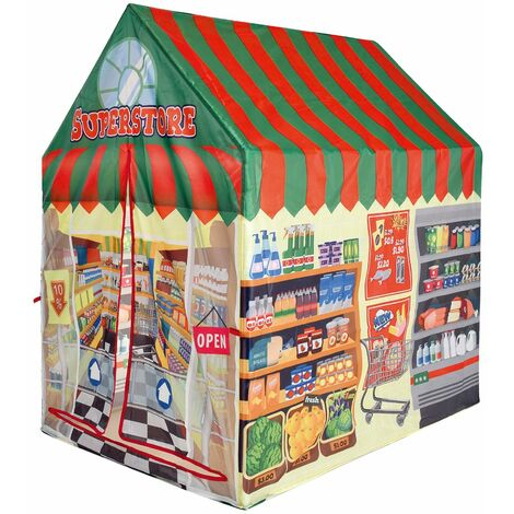 """main image of """"Charles Bentley Supermarket Shopping Food Play Tent Wendy House Playhouse Den - Multi-Coloured"""""""