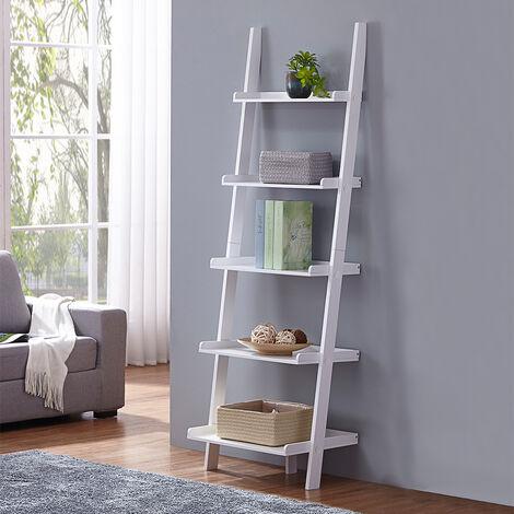 Charles Bentley Tall Wooden 5 Rung Ladder Storage Shelving Unit Display Shelf