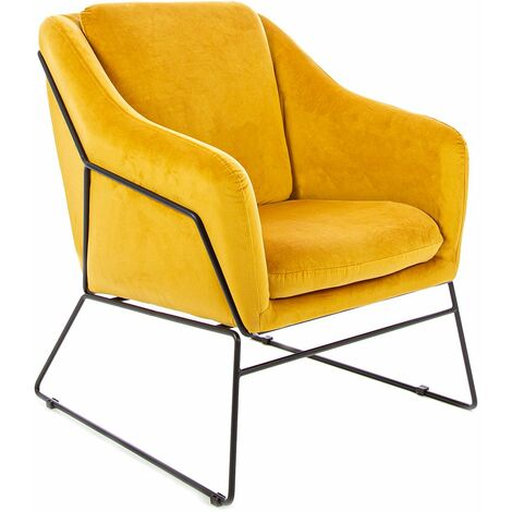 Charles Bentley Tilburg Velvet Occasional Chair Yellow Home Living Contemporary - Yellow