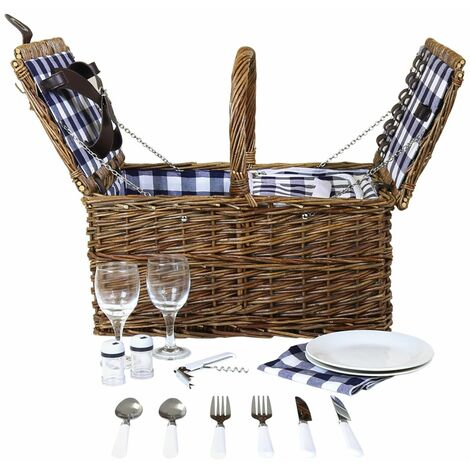 Charles Bentley Traditional Wicker 2 Person Picnic Basket Set Checked Lining