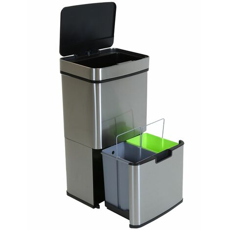 Charles Bentley Triple Compartment Stainless Steel 62L Sensor Bin Recycle Waste - Silver