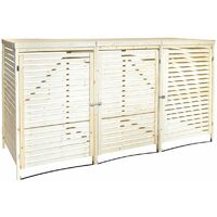 Charles Bentley Triple Wooden Bin Store Wheelie Bin Storage Unit Lifting Lid