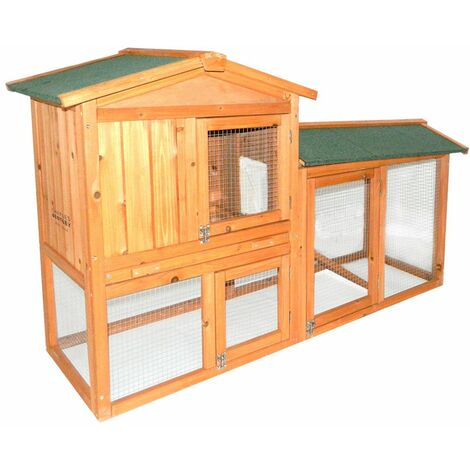Charles Bentley Two Storey Guinea Pig / Rabbit Hutch with Run Natural FSC Wood - Brown