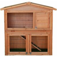 Charles Bentley Two Storey Rabbit Hutch With Play Area Grey/Light Brown
