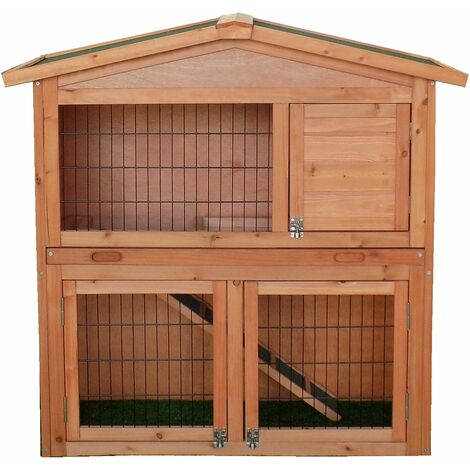 Charles Bentley Two Storey Rabbit Hutch With Play Area Light Brown