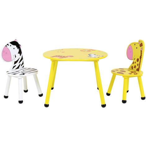 "main image of ""Charles Bentley Jungle Safari Wooden Table & 2*4 Chairs Set Children's Furniture"""