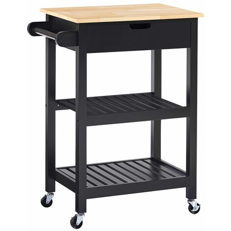 Charles Bentley Wooden Kitchen Drinks Trolley/Cart/Island/Worktop on Wheels - Black