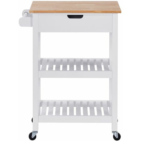 Charles Bentley Wooden Kitchen Drinks Trolley/Cart/Island/Worktop on Wheels - White