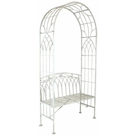 """main image of """"Charles Bentley Wrought Iron Arch with 2 Seater Metal Bench - Antique White - White"""""""