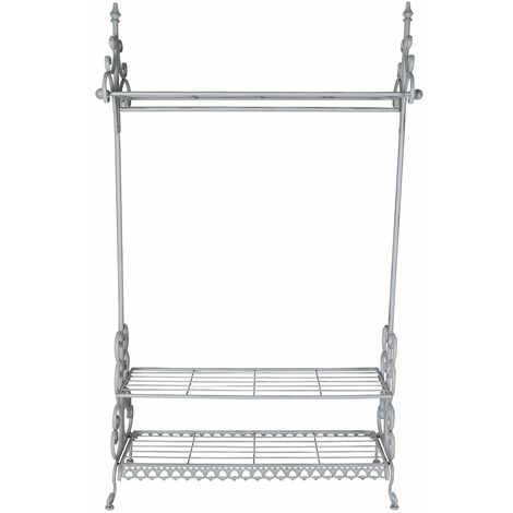 Charles Bentley Wrought Iron Clothes Rail & Shoe Rack Distressed Antique Grey