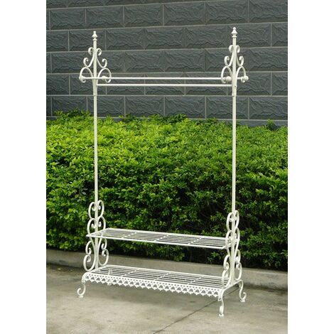 Charles Bentley Wrought Iron Clothes & Shoe Rack Coat Stand Garment Hanging Rail - White
