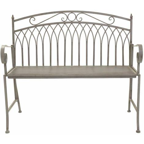 Charles Bentley Wrought Iron Feminine Bench - Grey/White