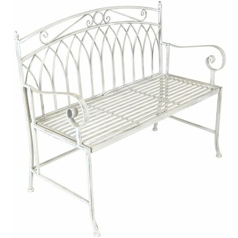 Charles Bentley Wrought Iron Feminine Bench - Grey/White