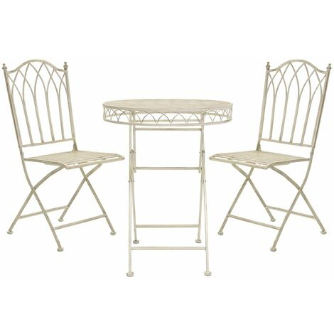 Charles Bentley Wrought Iron Feminine Bistro Set - Grey/White
