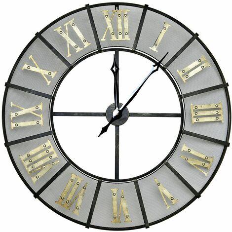 Charles Bentley Wrought Iron Outdoor Garden Metal Clock - Black & Antique Brass - BLACK, GOLD