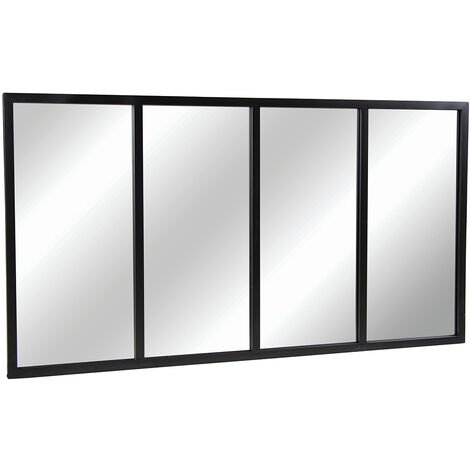 """main image of """"Charles Bentley XL Industrial Wrought Iron Rectangular Mirror Black 140x75cm - Clear"""""""