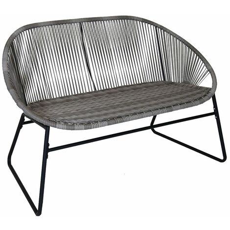 Charles Bentley Zanzibar 2 Seater Outdoor Garden Patio Bench Grey