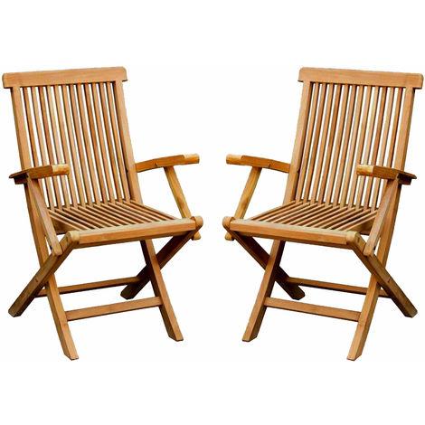 pliants de teck massif Lot de 2 Charles jardin fauteuils TlK15uJF3c